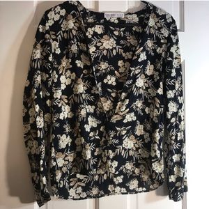 ZARA | Basic Z1975 Denim Floral Long Sleeve Top